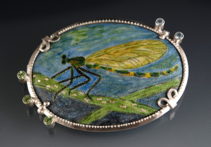 Hall-15_Silver damselfly brooch
